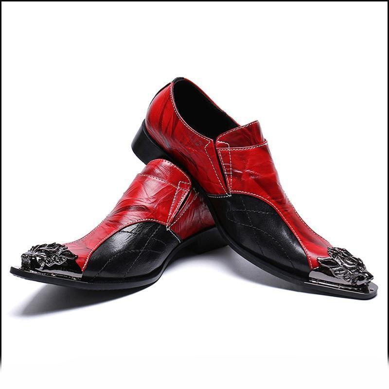 Roter Spitzschuh Mann formales Kleid männlich paty prom Schuh Wohnungen echtes Leder Metall gespitzte Monk Straps Vintage-Männer handgemachte Partei-Schuhe