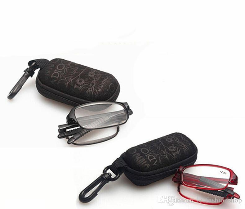 Unisex Foldable Folding Reading Glasses Easy Small Carrying Case Men Women Metal glass frame telephoto glasses presbyopic glasses 8862