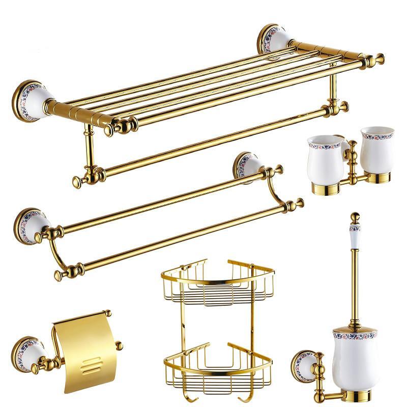 Gold Ceramic&Brass Bathroom Accessories Sets Porcelain Base Bathroom Hardware Set Flower Polished Product Sets