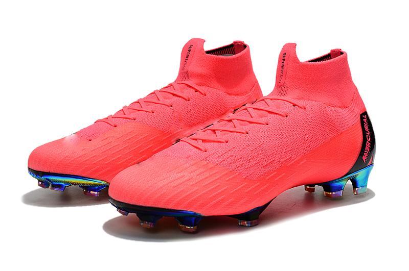 Rosa 100% Original Football botas Mercurial Superfly VI 360 Elite FG Outdoor Homens futebol sapatos de alta qualidade Atacado Futebol Grampos
