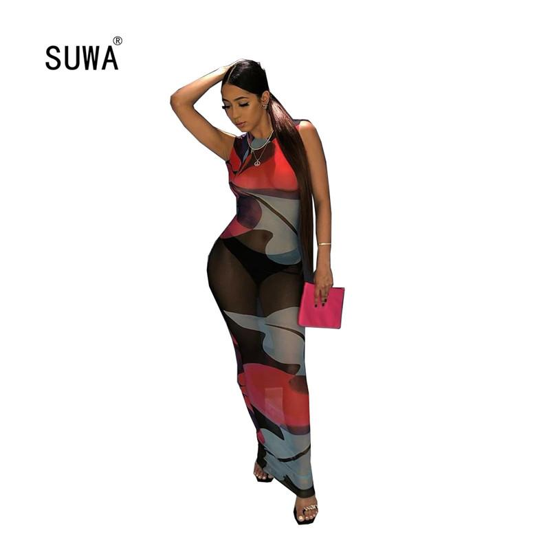 Coloré Imprimer Mesh Lady mince Slim Sexy Robes d'été Night Club Wear Fashion O Neck manches See-through Robe longue