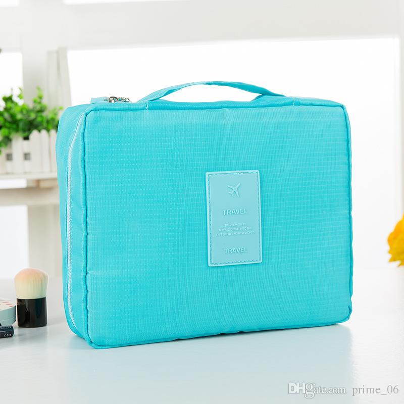 Bolsa de almacenamiento de viaje de tela Oxford impermeable portátil multifuncional bolsa de viaje cosmética para mujeres de doble capa bolsa de lavado de la organización coreana DHL