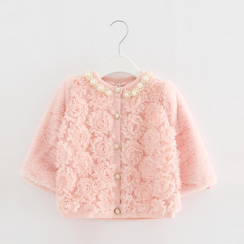 Baby Toddler Faux Fur Coat Girls Winter Warm Jacket Snowsuit Children Outerwear Full Of Flowers Pearls Collar Kids Clothes 0-2y J190513
