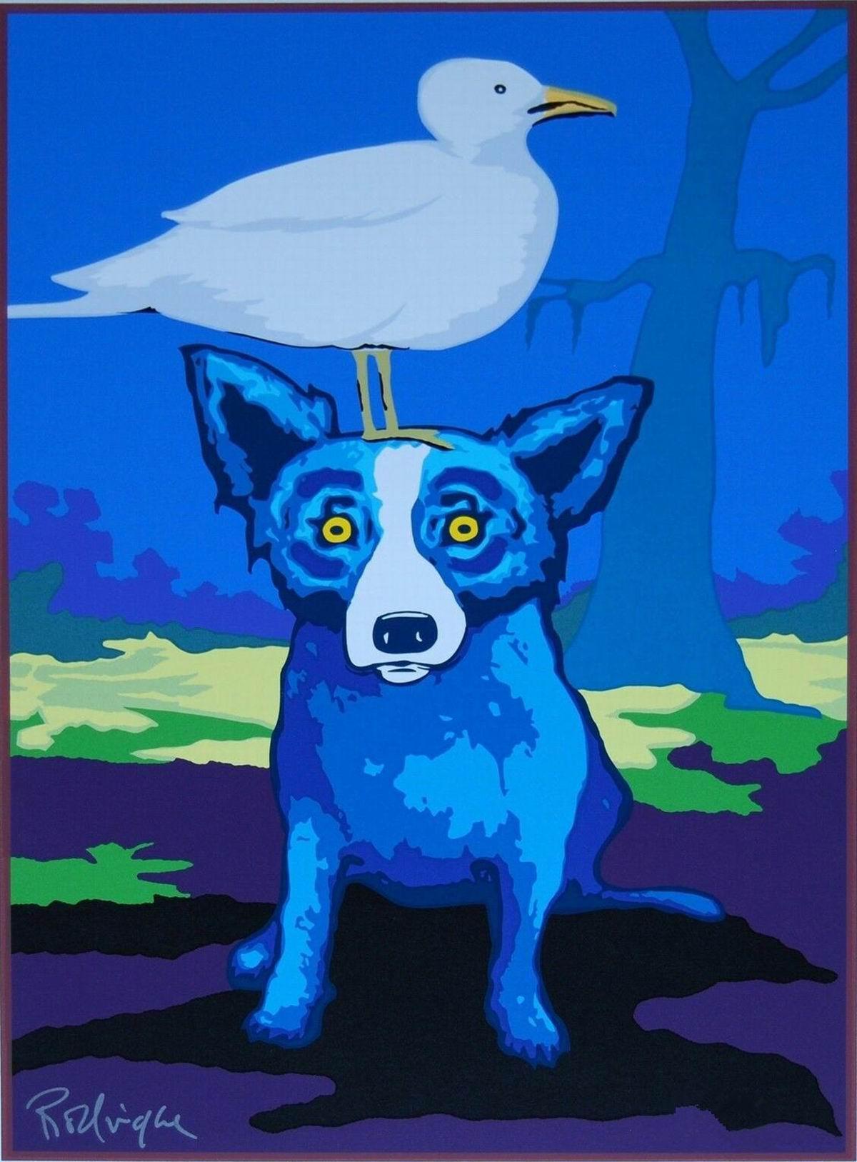 # A060 George Rodrigue perro azul Busco Alguien Como Me Home Decor pintado a mano de la impresión de HD pintura al óleo sobre lienzo de arte cuadros de la pared 0113