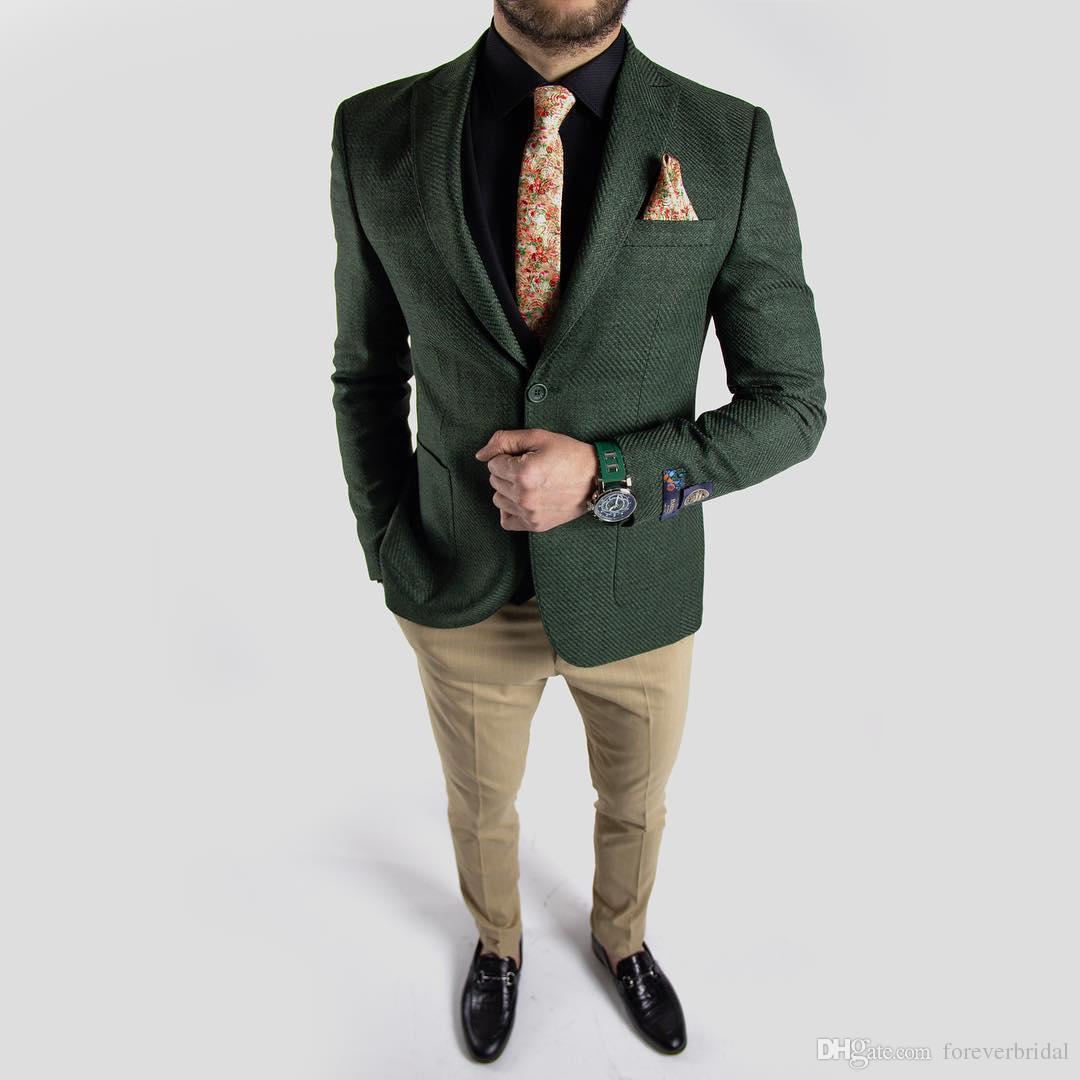 Dark Green Tweed Wedding Groom Tuxedos Handsome Slim Fit Pants Suits Prom Party Mens Formal Wear(Jacket+Pants)