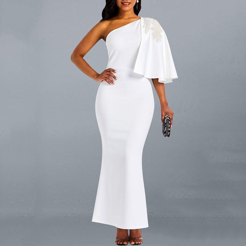 Venta al por mayor vestido maxi blanco elegante atractivo de un hombro Bodycon Tight Ladies Party de la manera femenina de la manera más el vestido largo
