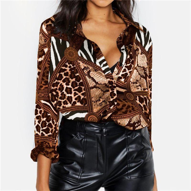 동물 패턴 여성 디자이너 셔츠 섹시한 슬림 V 넥 인쇄 긴 소매 디자이너 쉬폰 셔츠 패션 도시 여성 의류