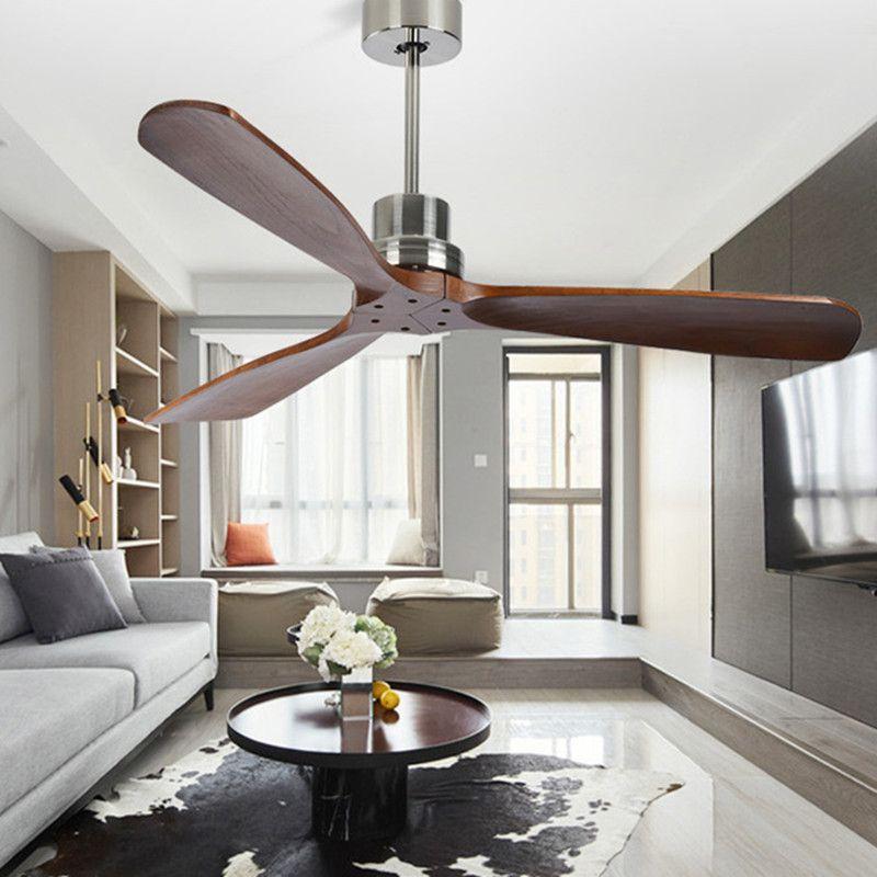 42/52 Inch Nordic industrial Ventilador de teto de madeira sem luz criativa Quarto de jantar quarto de madeira ventiladores de teto grátis