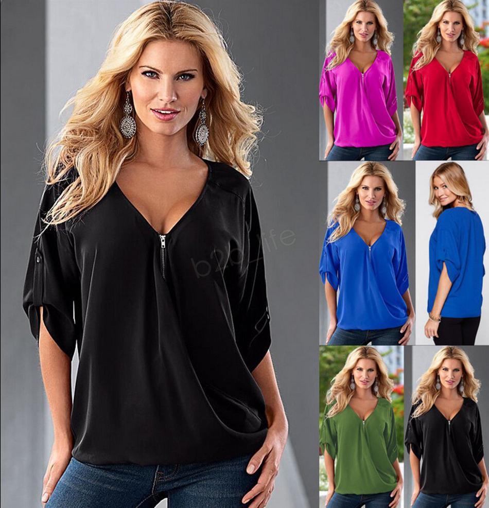 Women Loose Top T-Shirt middle Sleeve Zipper V Neck T-Shirt Ladies Blouse Shirt over size home clothing Plus Size LJJA2859