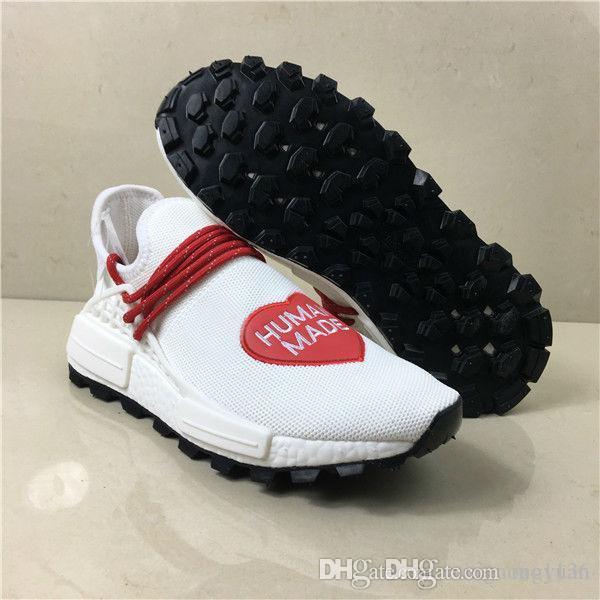 Feito humano x raça Pharrell Williams humana Running Shoes Hu Inspiração Pacote Shoes Sneaker Notícias Hu Raça Mente Coração Calçados