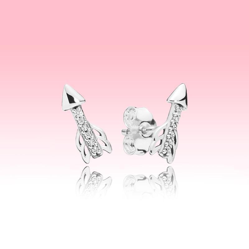 Pandora 925 Gümüş Aşk küpe seti için Orijinal kutusu ile Köpüklü Ok saplama Küpe Kadınlar Kız Moda Takı