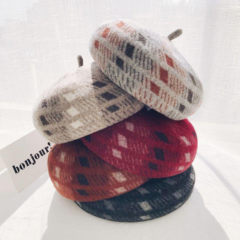 Boinas de lã geometria linha para mulheres Outono Inverno Beret Chapéus Casual cor sólida Bonnet Caps For Girls Feminino Boina