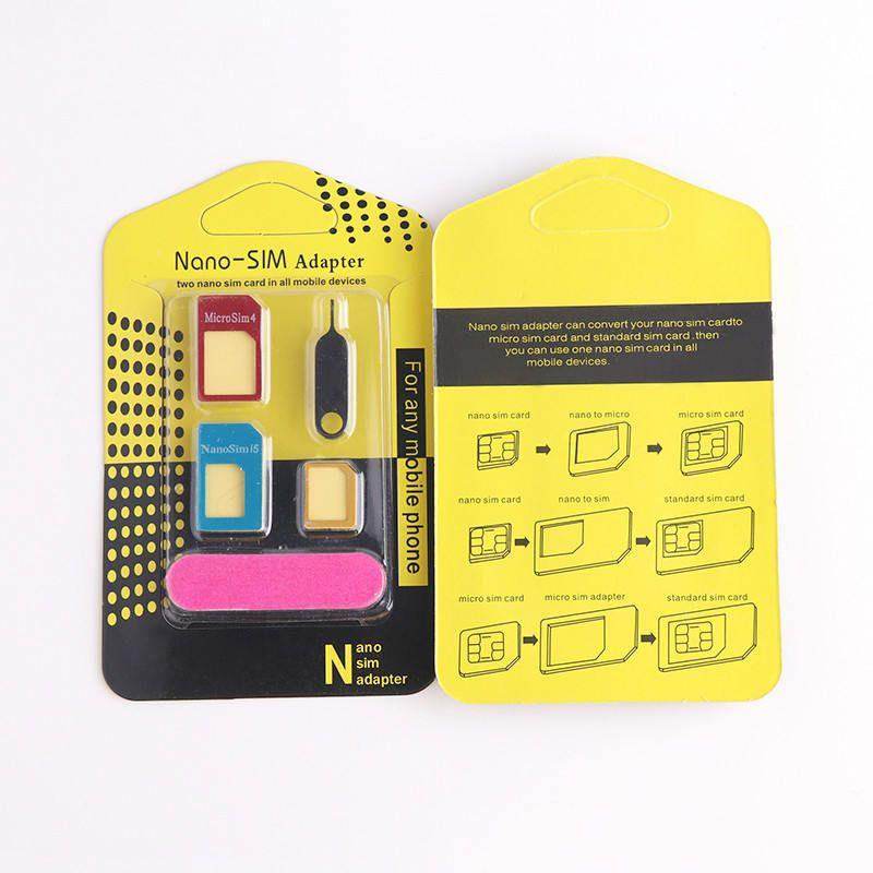 5 in1 di alluminio del metallo Nano SIM a micro SIM standard Adattatore per Samsung S5 S7 S6 bordo Converter espulsione Pin