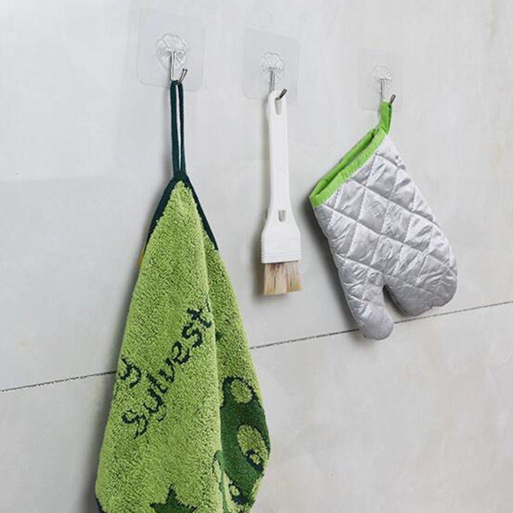 10pcs / Set Seamless Adhesive Haken Wasserdicht Transparent Strong Stick-Haken Küchen-Wand-Aufhänger