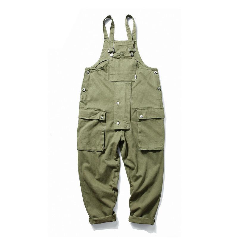 رجال الموضة KIOVNO Hip Hop Bibs Overalls Multiple Pockets Cargo Work Streetwear Jump Suits For Male Loose Pants