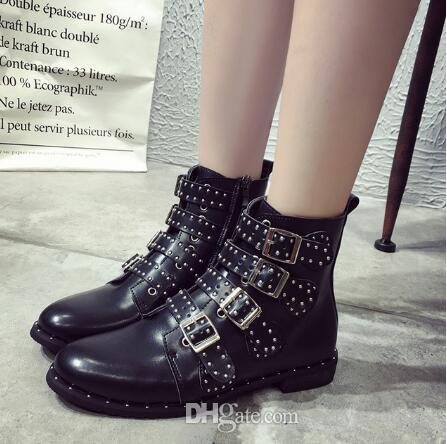 Black Studded Leather Ankle Boots Buckles Low Heeled High Women Boots Zapatos Mujer Ladies Shoes Size 42