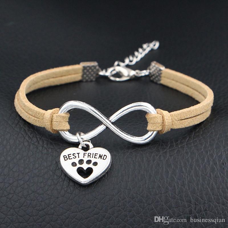 Punk Fashion Vintage Infinity Love Dog Best Friend & Dog Paw Prints Heart Beige Leather Suede Bracelets For Women Men Jewelry Gift Hot Cheap