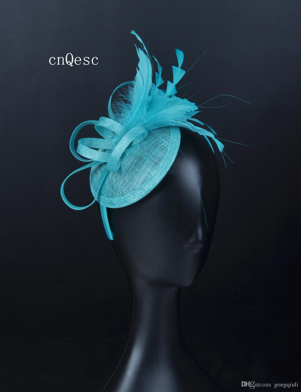 2019 Piccola turchese blu sinamay fascinator cappello cappello chiesa per la sposa da sposa doccia madre della sposa w / fiore di piuma