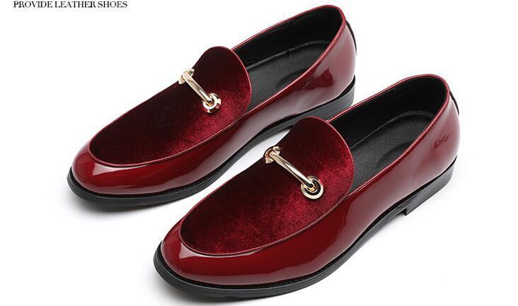 2019 Lüks erkekler rahat düğün gece kulübü patent elbise ayakkabı hakiki deri sivri burun brogue düz ayakkabılar loafer'lar Erkek Oxford 38-46 üzerinde kayma