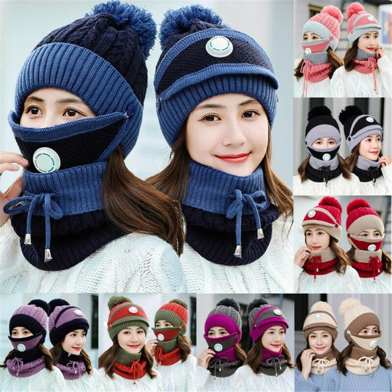 Boys Girls Kids Winter Hat Scarf Mask 3Pcs Set Warm Knit Woolly Beanie Cap 1-8T