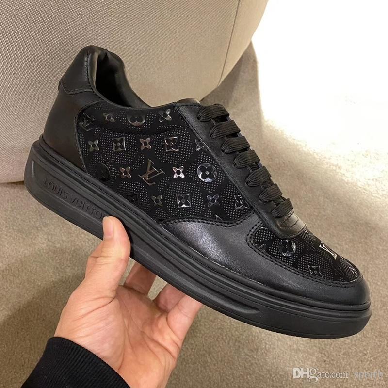 Louis vuitton 2020 D4 neue Art und Weise der beiläufigen Männer Schuhe, High Quality Gemütlich Luxus Herrenschuhe Lederturnschuhe ursprünglicher Kasten Verpackung Zapatos Hombre