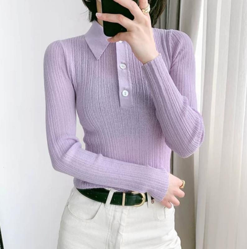 Женские свитера Женщины свитер воротник с длинным рукавом тонкий сплошной цвет оболочки Кнопка вязаный доз 2021