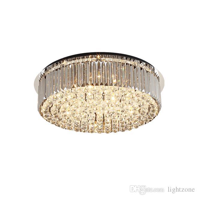 Nouvelle plaque noire d'éclairage en cristal de plafond gris fumé de luxe lustre moderne dimmable montage encastré Lustres pour salon chambre