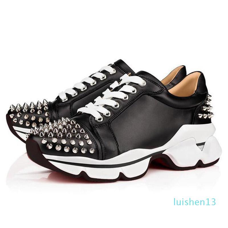 Moda Red é inferior Homens Mulheres Designer Casual Spikes Rebites Rhinestone Calçados vestido de festa sapatos de caminhada Sneakers Chaussures sapatos rasos l13