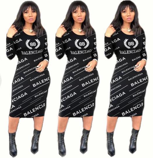 새로운 여성의 연필 Bodycon 편지 인쇄 드레스 섹시한 캐주얼 긴 소매 셔링 긴밀한 미디 클럽 파티 드레스