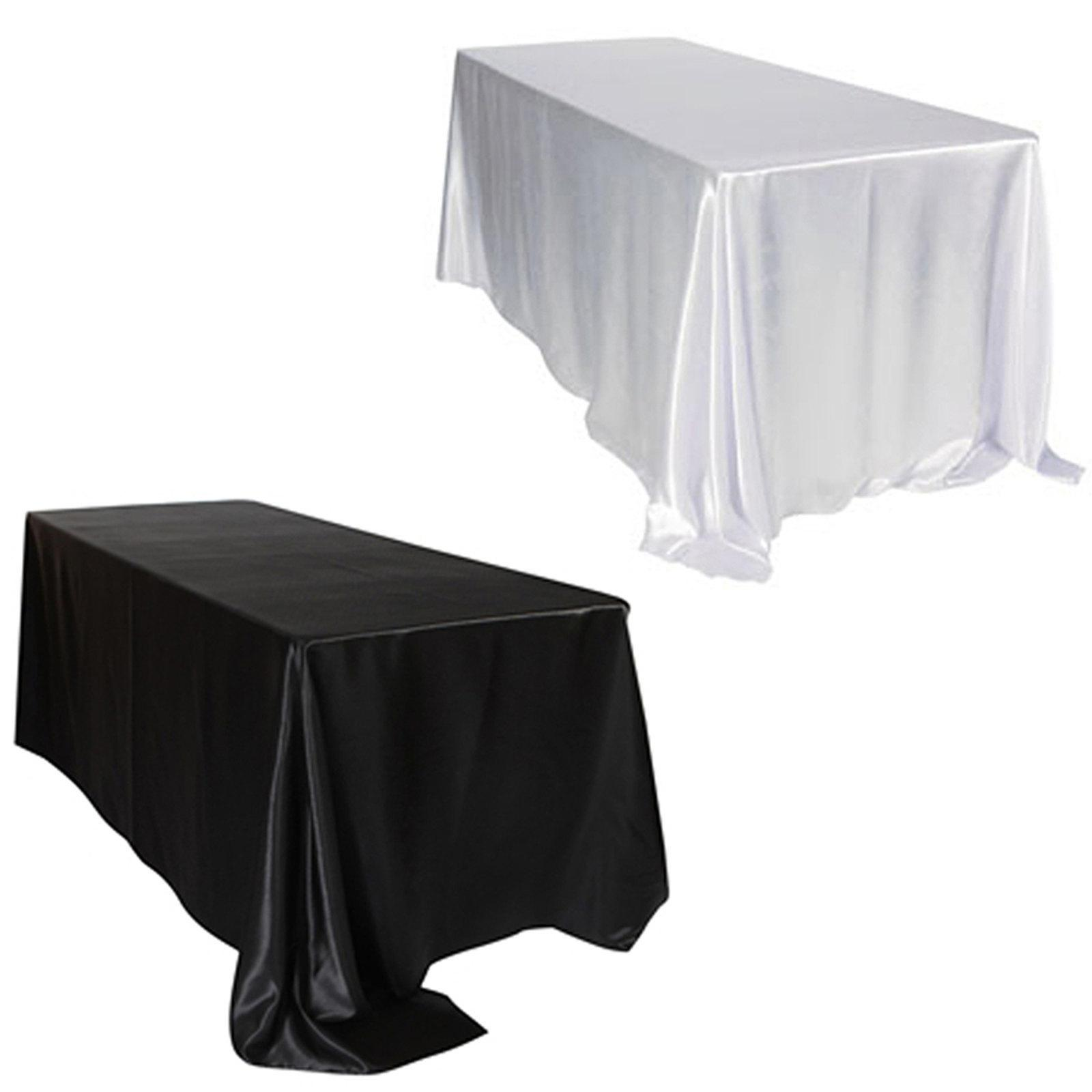 228x335cm/145x320cm White/black Double Stitched Edge Rectangular Satin Tablecloth Table Cloth For Wedding Christmas Decoration T8190620