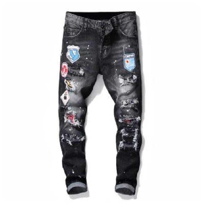 dsquared2 jeans dsq d2 Mens Jeans uomini jean jeans strappati Rips Stretch Nero Jeans Moda Slim Fit lavato Moto pantaloni del denim a pannelli pantaloni hip hop B6