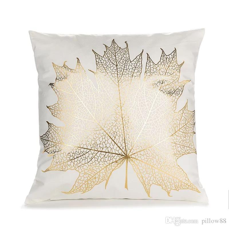 Basit geometrik yaprak bronzlama yastık kılıfı yaratıcı ofis kanepe yastıkları yağ atmak yastık lüks yastık yastık kılıfı P9 bir nesil