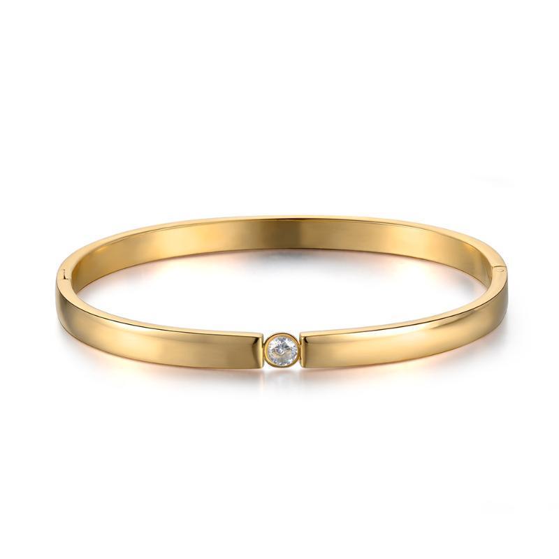 Bangle Classic Titanium Stahl Gold Farbe Manschette Armbänder Armreifen Cubic Zirkonia Hochzeit Schmuck für Frauen B18029