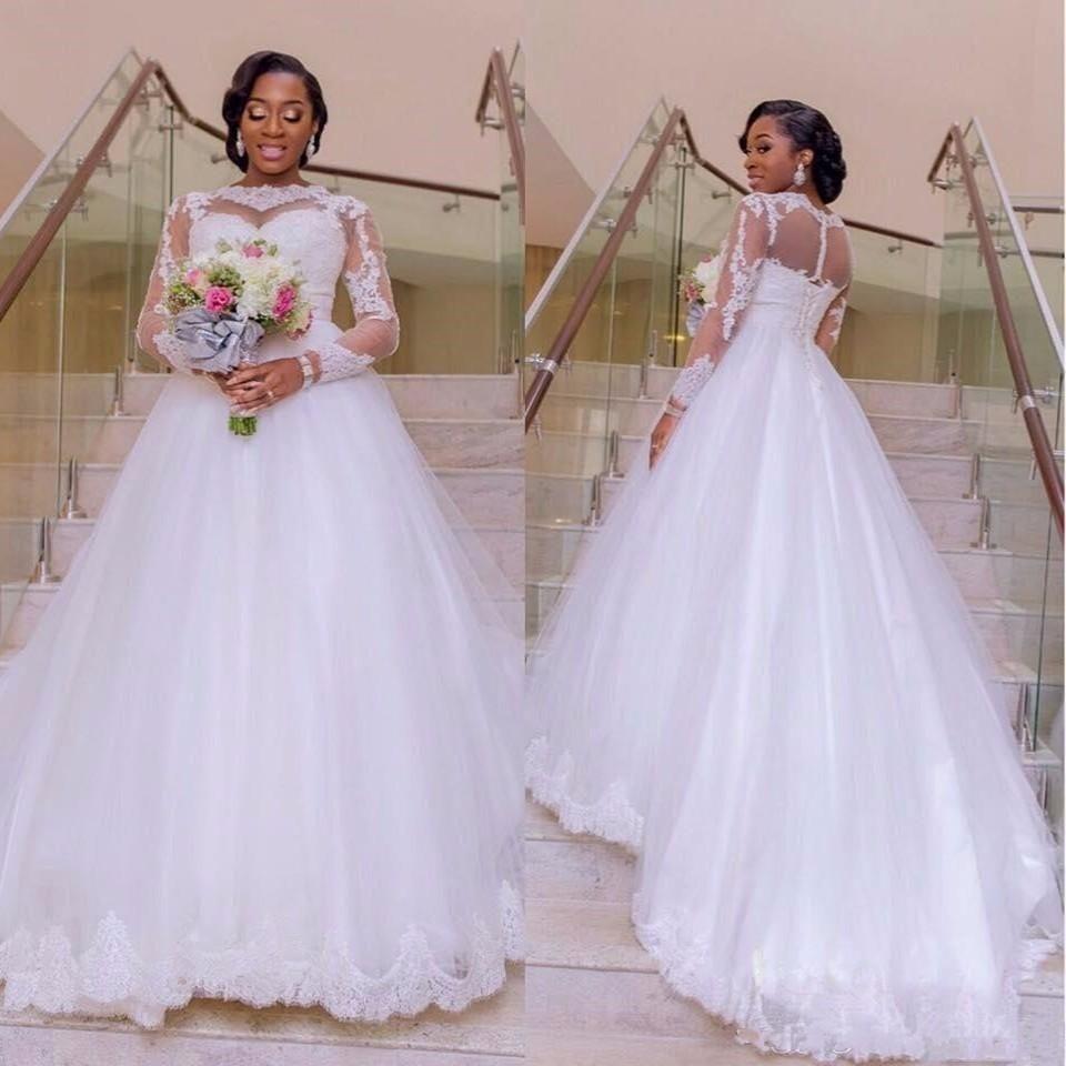 Illusion Uzun Kollu Vintage Gelinlik 2018 Jewel Boyun Aplike korse vestidos de Novia Uzun Sweep A Hattı Tül Gelinlikler