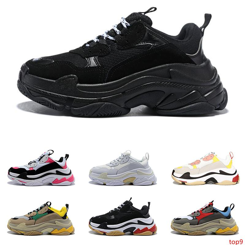 2020 triple s fashion luxury sneakers designer shoes for men women platform black white red blue mens trainer sports shoe height increasing