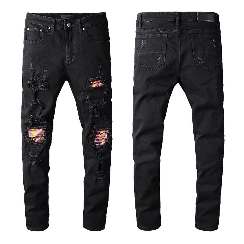 Mode Hommes Jeans de neuf Hommes Femmes Motard Ripped Jeans Slim Fit Mens Skinny Jeans Denim Pantalons Taille 28-40