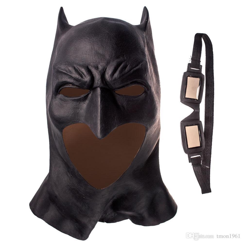 Gerçekçi Cadılar Bayramı Partisi Cosplay Tam Yüz Lateks Batman Desen Maske Kostüm Partisi Maskeleri Karnaval Cosplay Sahne film Fantezi Elbise