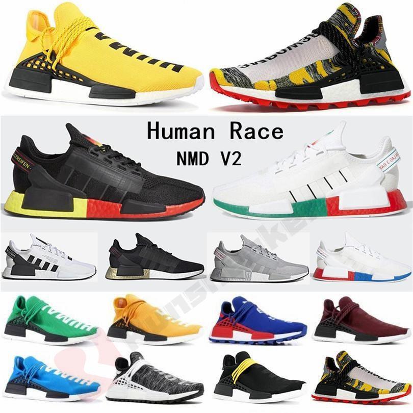2020 سباق فاريل وليامز NMD R1 V2 المدربين الإنسان الاحذية المساواة بي بي سي الأسود نوبل Tripler المعرفة روح رجل إمرأة حذاء رياضة الرياضة