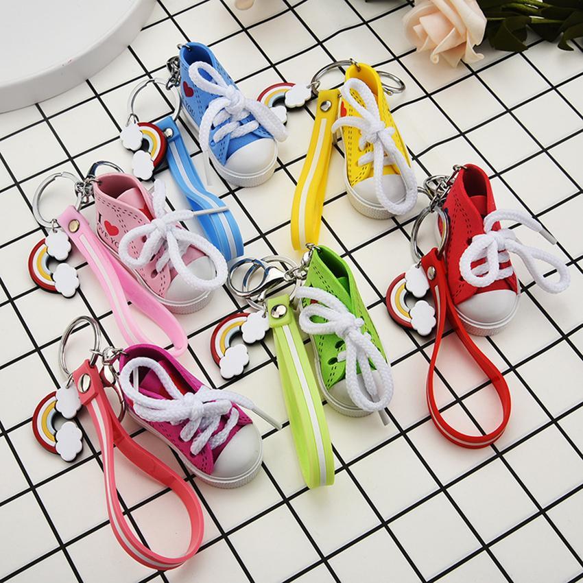 3D حذاء رياضة أحذية سلاسل المفاتيح الرياضة البسيطة قماش كيس مفتاح قلادة الامتيازات اكسسوارات للحصول على الهاتف الخليوي حقائب الظهر الأشرطة 6 ألوان