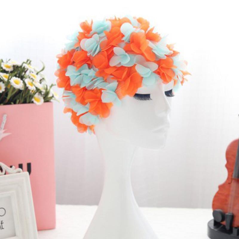Gorro de natación señoras de suministros de la playa Piscina sombrero de la vendimia 3D Flores de baño