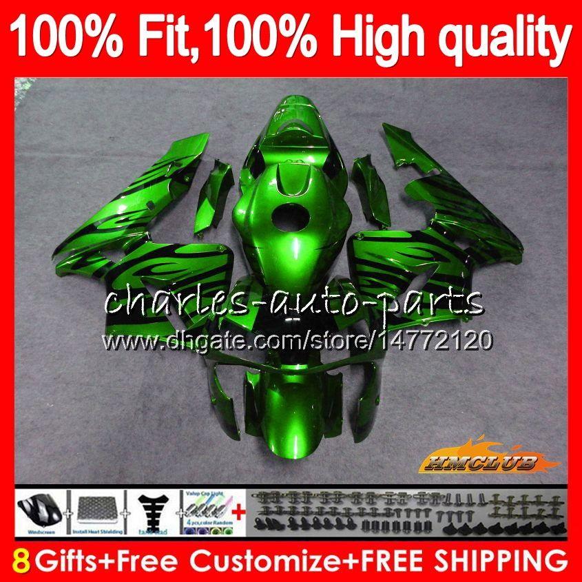 Injection 100%Fit green flames For HONDA CBR600RR CBR600F5 CBR600 RR 2005 80HC.303 CBR 600 RR 600RR 600F5 F5 05 2006 05 06 OEM Fairing kit