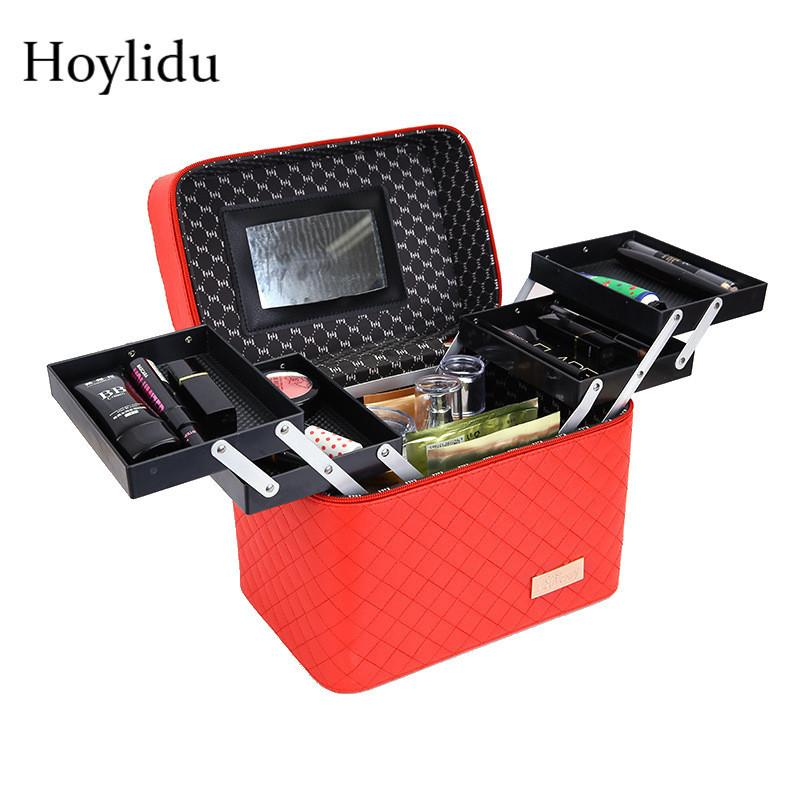Fashion Women Portable Cosmetic Beauty Case Large Capacity Professional Makeup Pretty Suitcase Multilayer Make Up Toiletry Bag C19041201