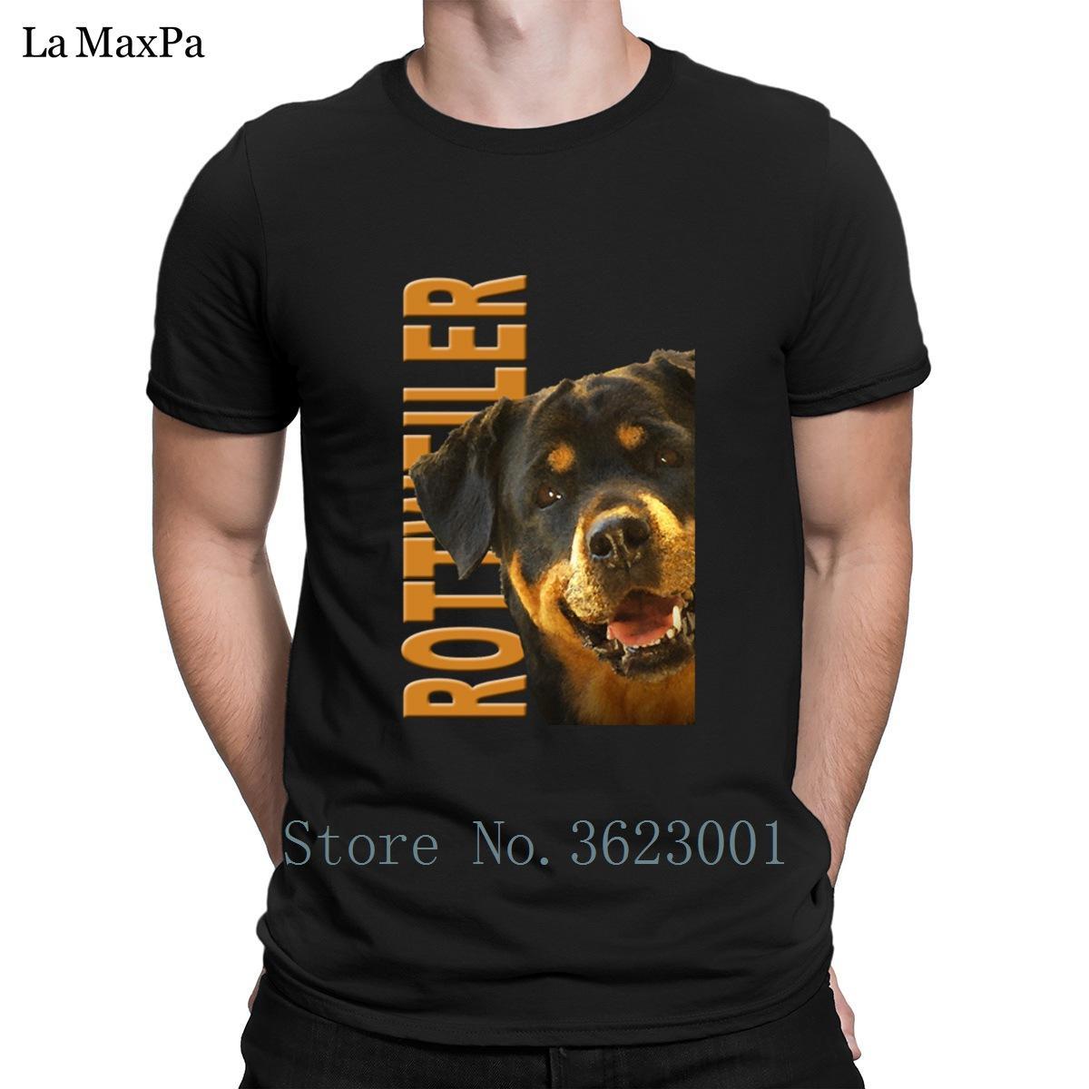 T-shirt di stampa lettere T shirt Uomo solido Colore Rottweiler autentici degli uomini di elegante maglietta girocollo Tee Shirt Fit