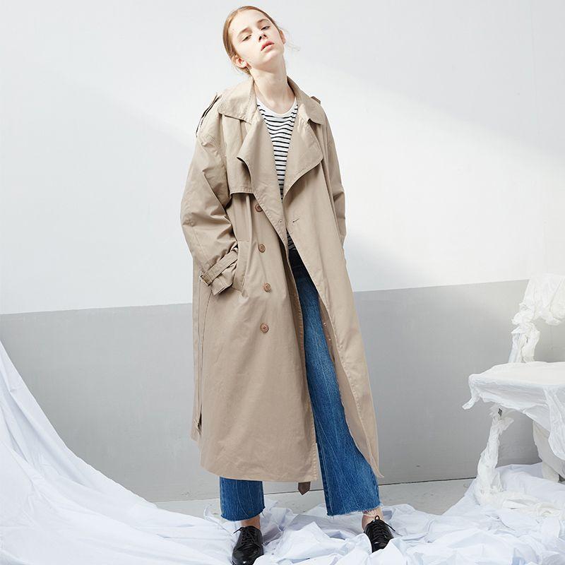 fashion british style classic khaki ladies overcoat windbreaker loose long trench coat 2019 spring autumn coat women clothing