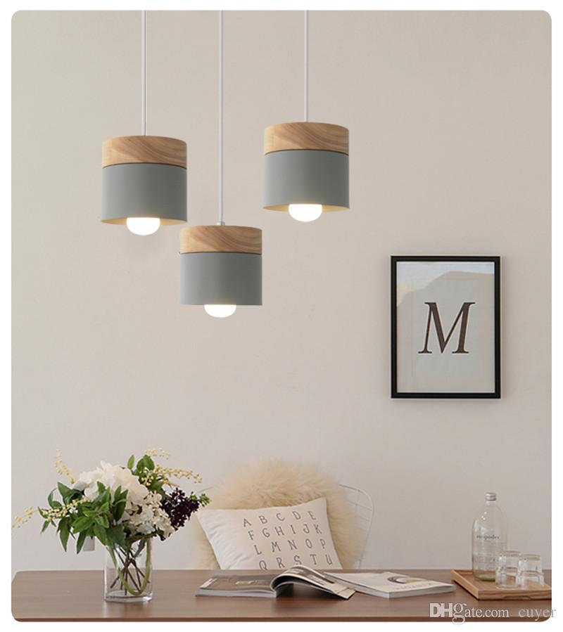 Nordic Kreative Restaurant Pendelleuchte; Farbe Esszimmer Lampe; Moderne Einfache Massivholz Wohnzimmer Pendelleuchte; Bar Eiche licht