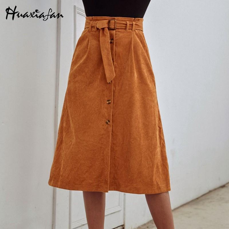 Huaxiafan ceinture de velours côtelé élégante des femmes de bottons jupes midi ligne haute offfice femme solide vintage taille jupe 2020 nouvelle