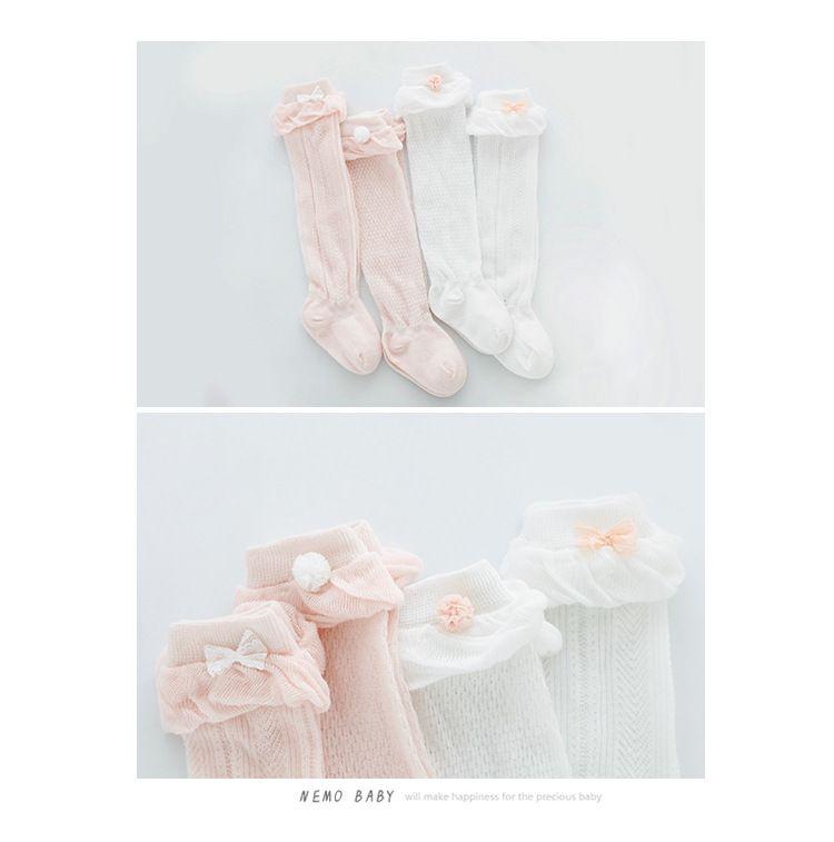 Nouveau bas bébé cool genou hauteur jambes élastiques printemps été automne maille bébé chaussettes enfants pile chaussettes rose blanc