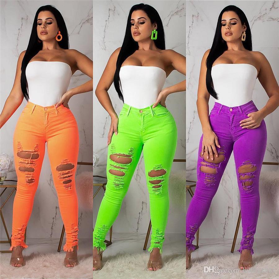 Sexy Skinny Destroyed Big Size Women Jeans 2XL Verano 10% de cintura alta Cut Up Ripped Hole Pants Fashion Plus Size XXL Pantalones