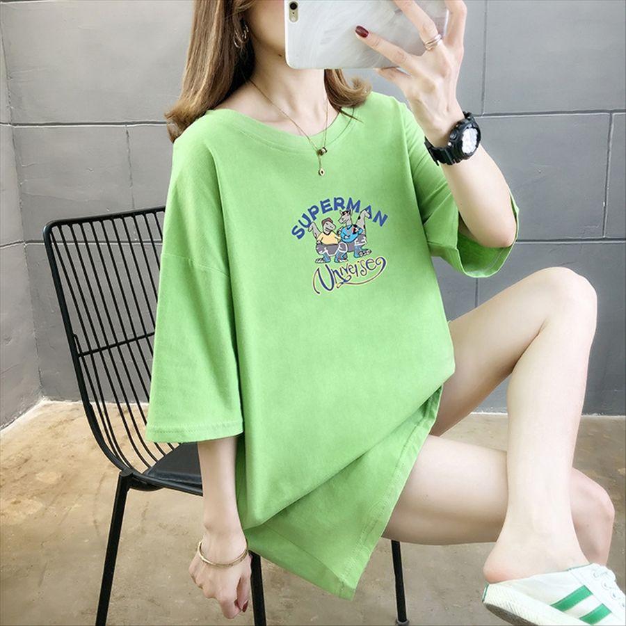 carta 2020style mulheres de grande porte gola redonda manga longa curta soltas T-shirt 2020style grande tamanho de letra feminina gola redonda long short