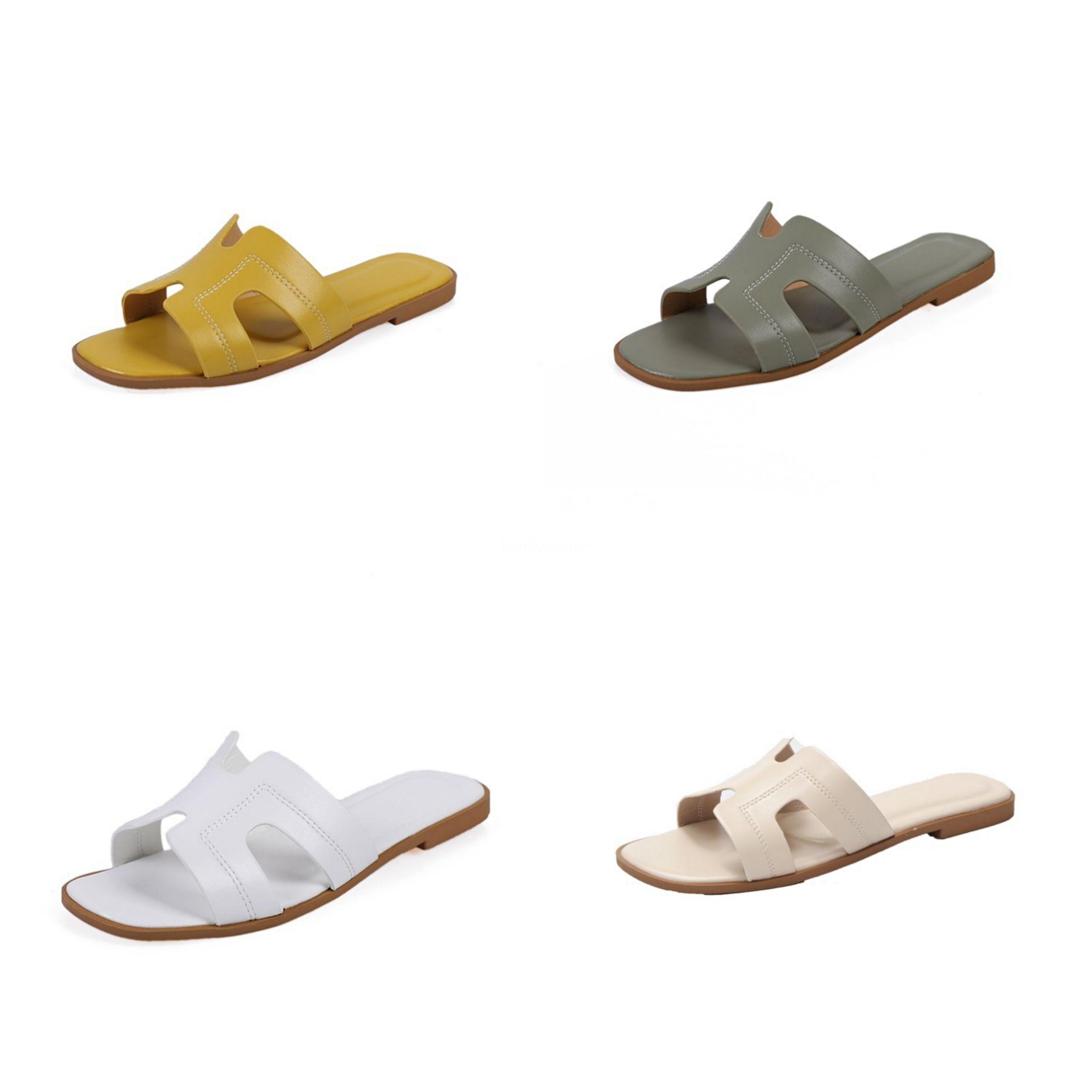 Uomini Pantofole di cuoio di lusso diapositive Calzature Classics Estate Maschio Beach morbide pantofole fondo scarpe traspiranti H Flats # 785